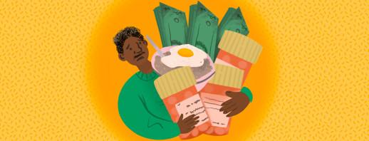 Persoon juggles overflowing finances, medication, meals in hands.
