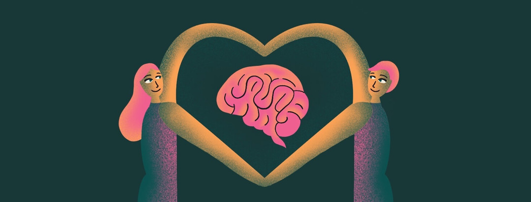 A man and a woman look at each other tenderly while their arms are linked in the shape of a heart. A brain is floating in between them.
