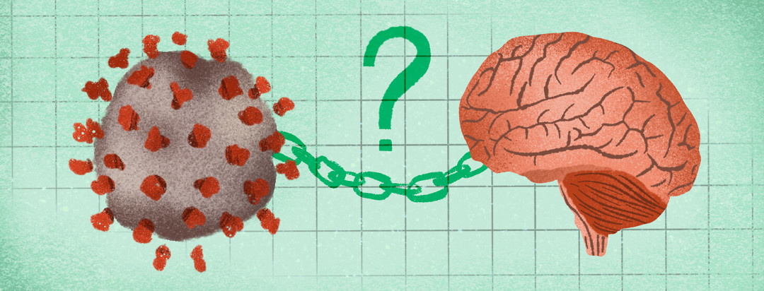 Link between COVID-19 molecule and brain with question mark above