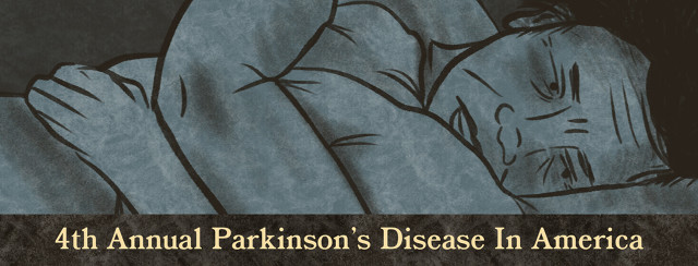 Asian man curled up with pillow with text reading, '4th Annual Parkinson's Disease in America'