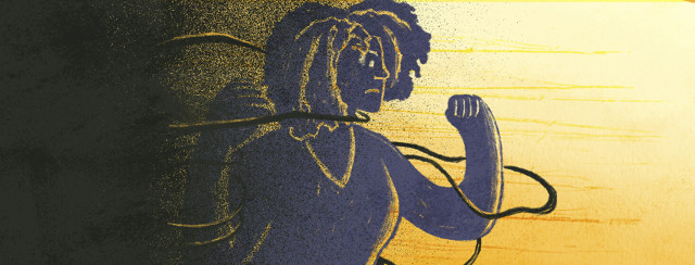 Black woman in shadows struggles to release herself from ties binding her away from yellow light