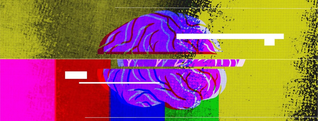 A brain split apart with colors surrounding it