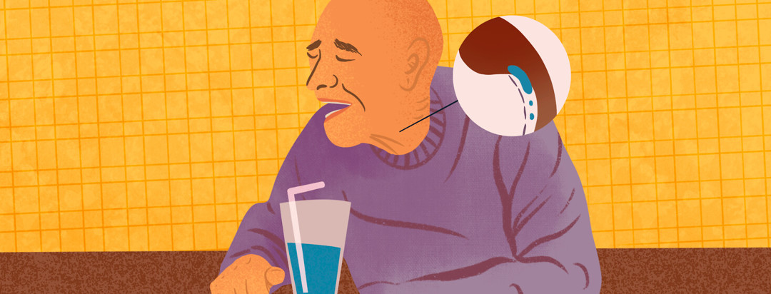 Bald man at table with glass of water with straw coughs and wrinkles brows; a pop up circle features water drop going down trachea