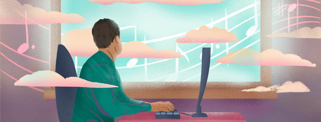 Man writing on raised keyboard stares out window showing blue sky, clouds emerging from outside inside the office, music bar flows through background.