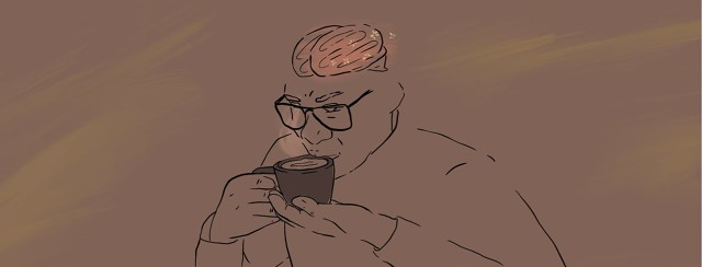 Person drinking coffee with brain visible and electricity sparks shown on brain