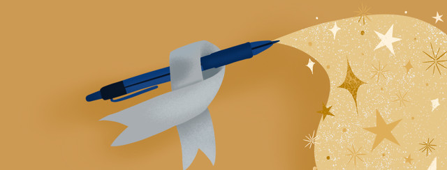 Pen with silver advocacy ribbon; stream of stars emanate from pen tip