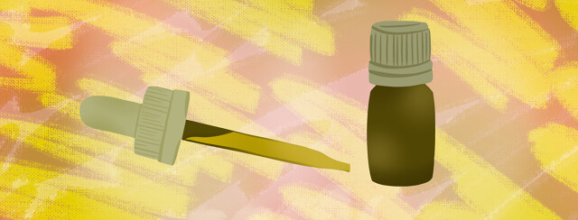 Green dropper and vial with scribble background