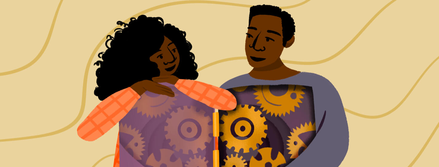Black man's body is swung open to reveal gears turning; Black woman leans on open door and smiles as man shares info about inner workings