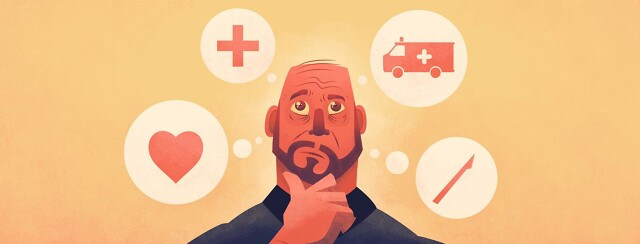 a man thinking about a heart, ambulance, cross and scalpel