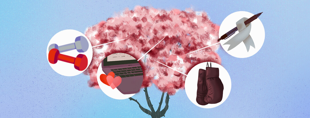 Magnolia tree featuring hand weights, boxing gloves, laptop with hearts, silver Parkinson's advocacy ribbon