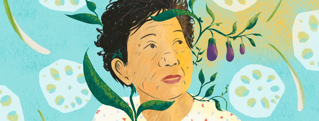 Elder Asian woman looks ahead while antioxidant rich food like eggplant, lotus root, lemongrass grow around her