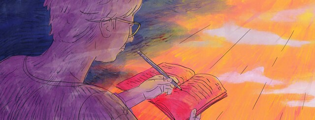 Person journaling while a ray of sunshine softly casts over them.
