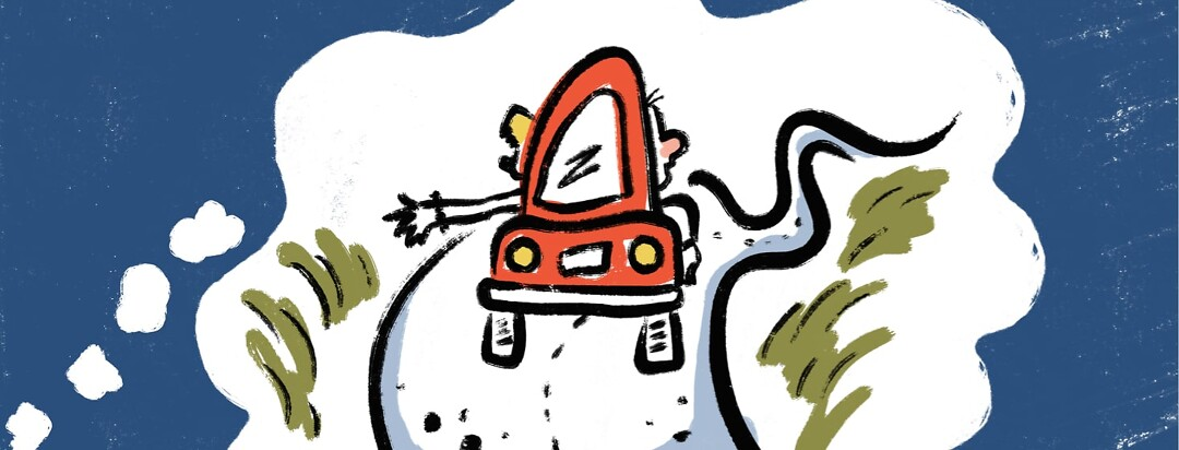 A thought bubble with a red car driving down a long, winding road with 2 people inside looking out the windows