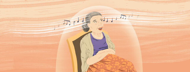 Older woman listening to music while going through parkinsons disease treatment.