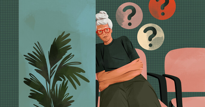 Older woman in doctor's office waiting room presses ear to the wall to listen to hints about her diagnosis