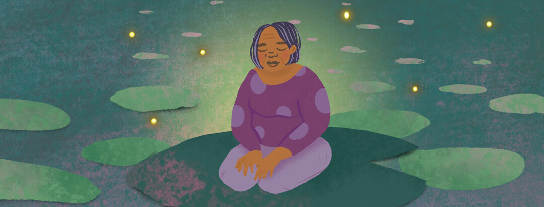 Elderly woman sits on a lily pad with closed eyes and lightning bugs around her