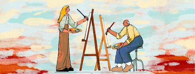 A young woman and her older father paint on canvases across from each other