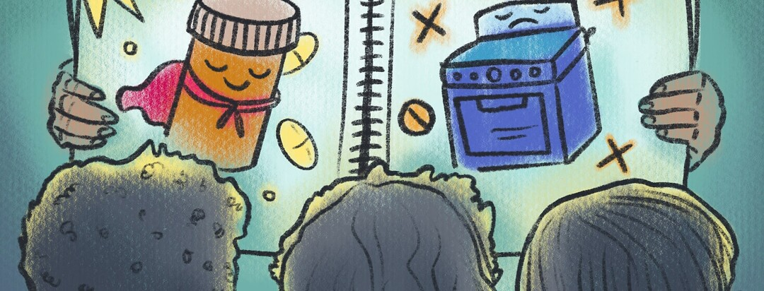 Three children from behind look on at a storybook featuring a superhero pill bottle and a sad stove