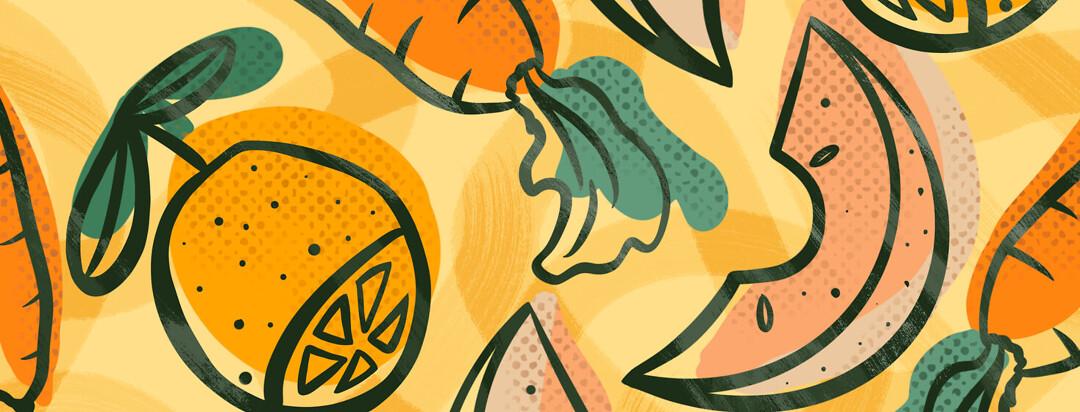 Kumquat, cantaloupe melon slice, carrot pattern