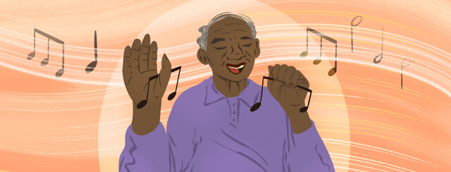 Elderly man dances while holding musical tunes in his hands