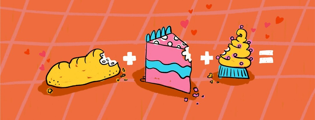 A loaf of bread plus a slice of cake plus a cupcake with an equal sign at the end
