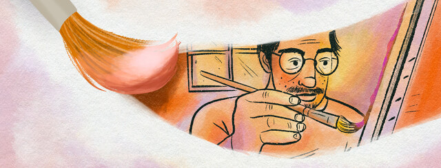 Paint brush swipes to reveal a watercolor image of man learning how to paint with Parkinson's