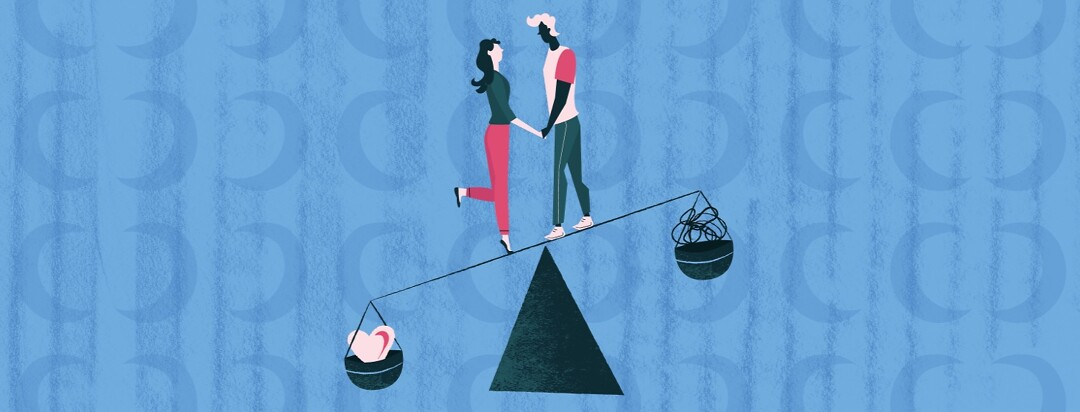 a man and woman holding hands and balancing on the middle of a scale measuring their stress versus their love