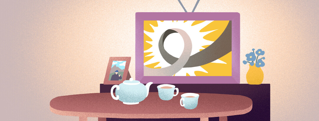 Television screen shows gray Parkinson's ribbon, a mantle photograph of someone smiling from a mountain, and a table with a tea pot and two cups of tea