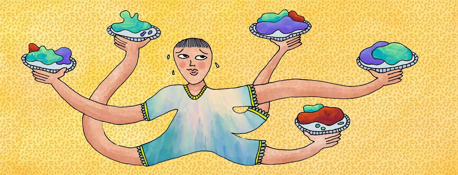 A person juggles five full dishes in five whimsical arms. They are sweating and look concerned.